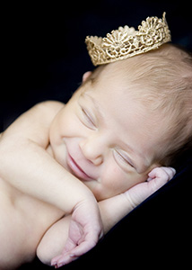Newborn baby with crown