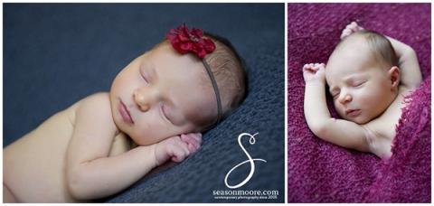 Newborn girl on dark pink