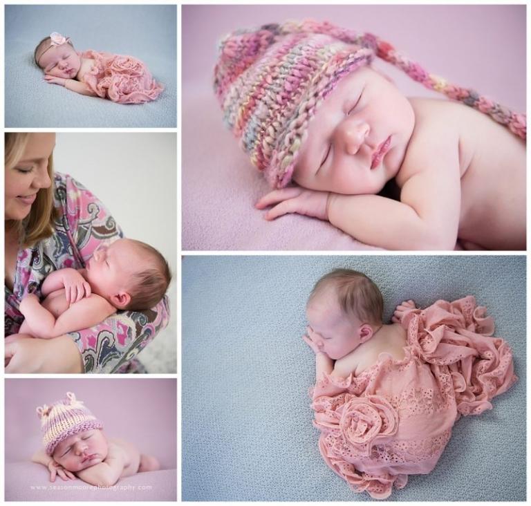 baby newborn girl pink in studio