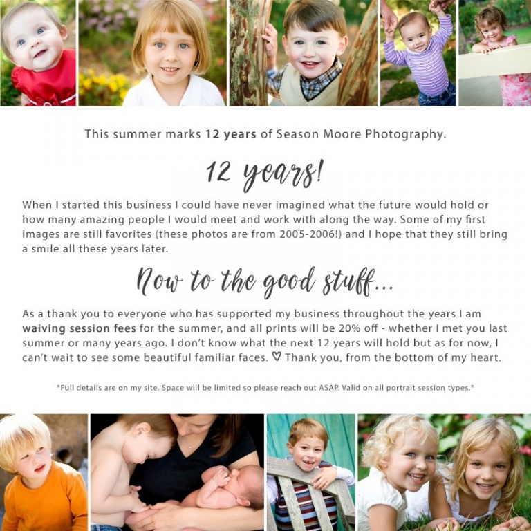 raleigh family photographer celebrating 12 years