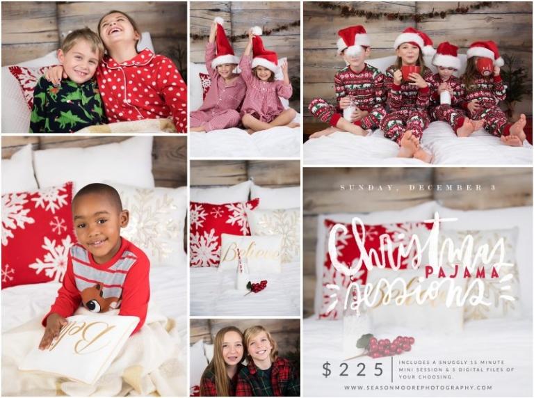 christmas pj pajamas mini sessions raleigh