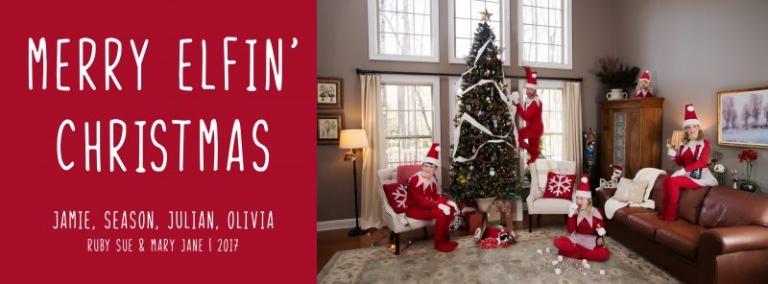 elf on the shelf themed Christmas Card merry elfin