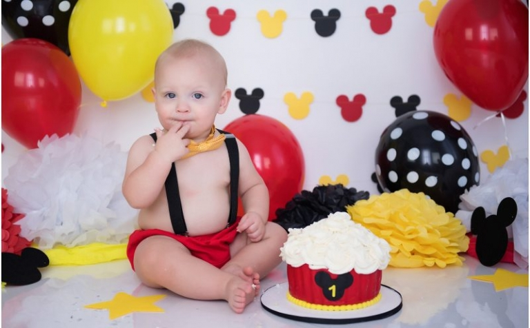 mickey mouse cake smash session first birthday photographer raleigh north carolina