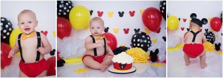 disney mickey mouse cake smash photo session