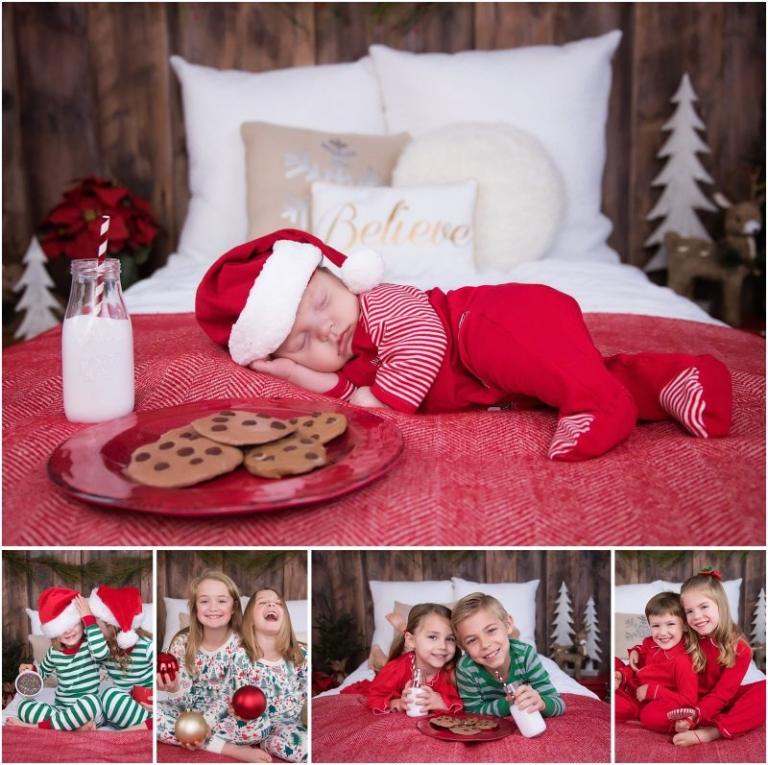 christmas holiady mini sessions studio raleigh durham north carolina pajamas