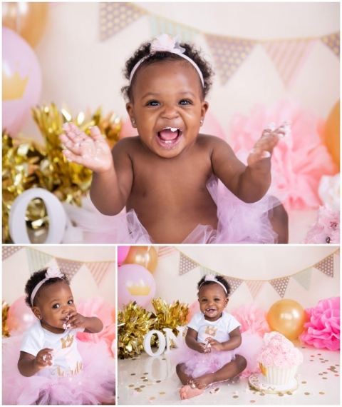 Tremendous Pink And Gold First Birthday Cake Smash Season Moore Photography Personalised Birthday Cards Arneslily Jamesorg