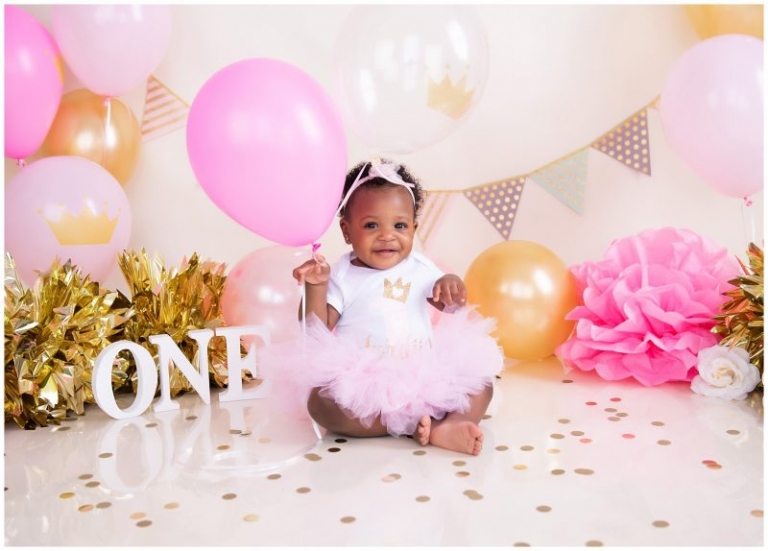 Pink and Gold First Birthday Cake Smash | Season Moore