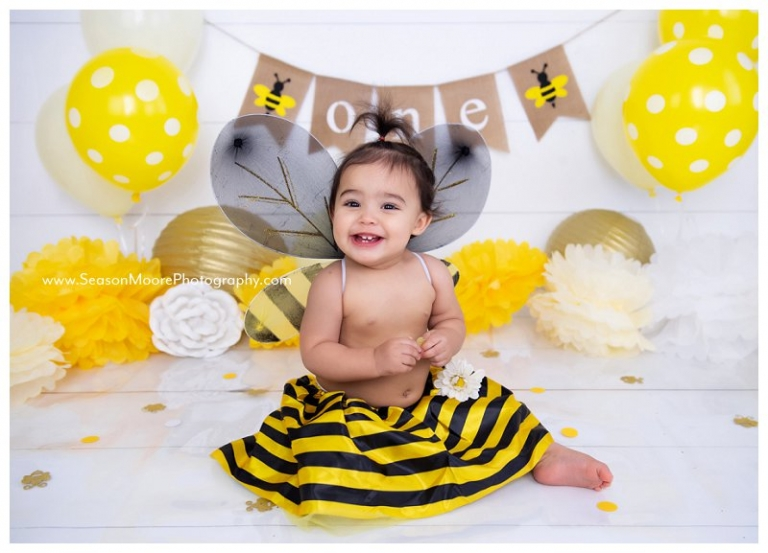 honey bee bumble baby girl cake smash