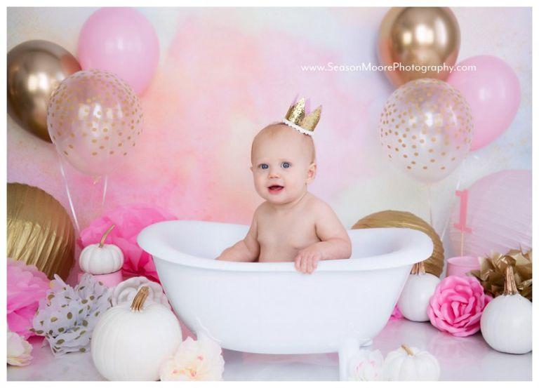 pink pumpkin lil cake smash bubble bath girl